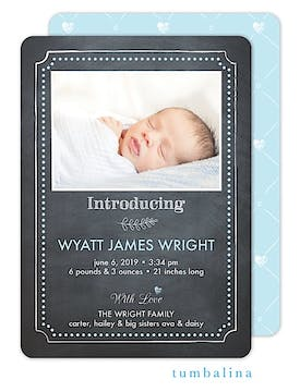 Chalkboard Baby Heart Dots Blue Photo Birth Announcement