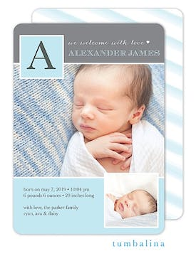 Baby Monogram Blue Photo Birth Announcement