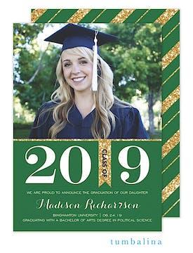 Grad Glitter Bold Green Photo Card