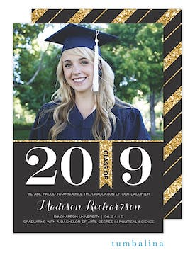 Grad Glitter Bold Black Photo Card