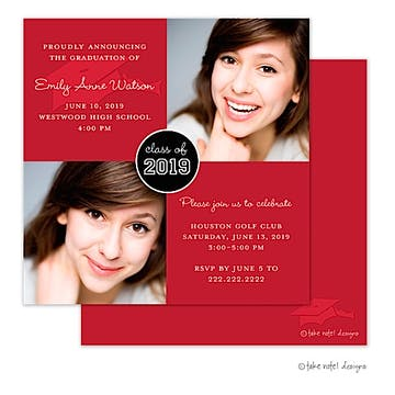 Solid Hat Red Accent Graduation Photo Announcement