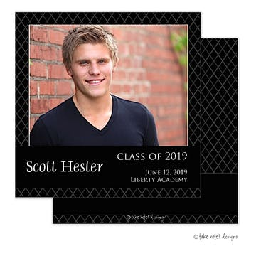 Diamond Grid Simplicity Graduation Photo Announcement