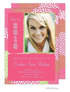 Pink Mums Graduation Photo Announcement