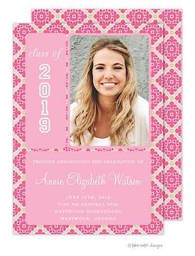 Pink Fancy Grid Graduation Photo Announcement