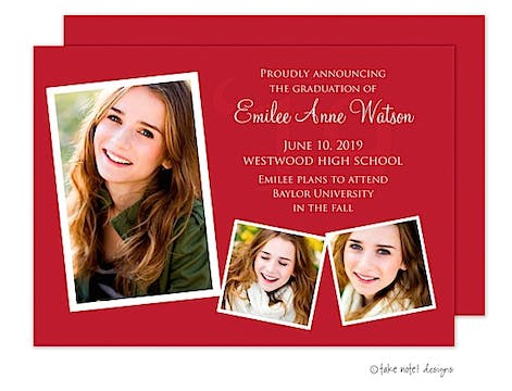 Solid Year Red Accent Graduation Photo Announcement