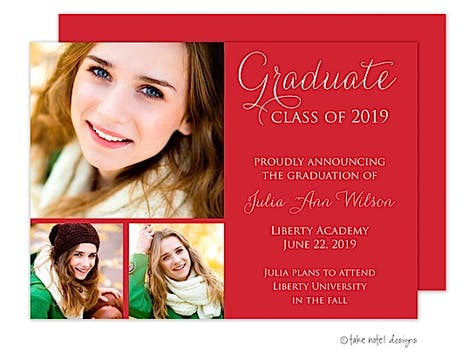 Simple Graduate Red 3 Graduation Announcement