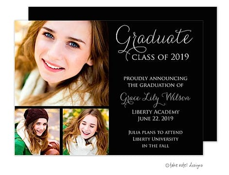 Simple Graduate Black 3 Photo Graduation Photo Announcement