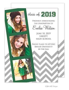 Green Film Strip Chevron Graduation Announcement