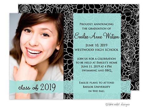 Modern Floral Transparent Band Graduation Photo Announcement