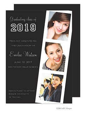 Black Film Strip Simplicity Graduation Photo Announcement