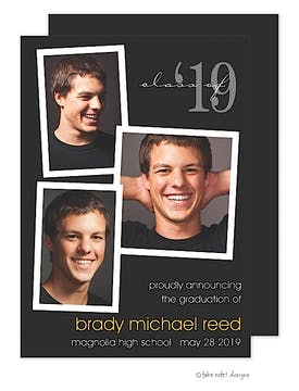 Photo Fun Layout Black Graduation Photo Announcement