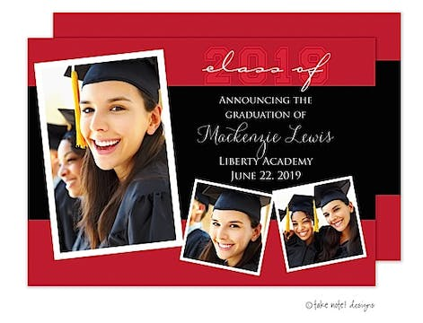 Red and Black Modern Layout Graduation Photo Announcement