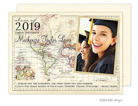 Vintage World Map Graduation Photo Announcement