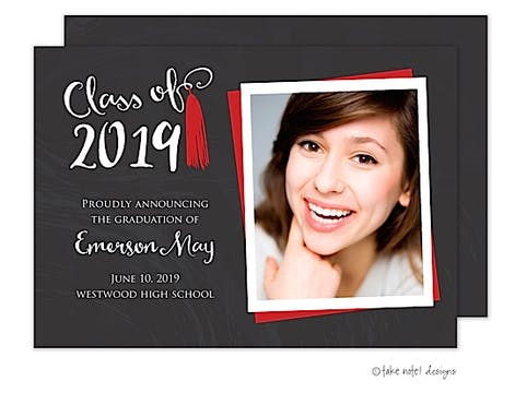 Emerson May Tassel Red Photo Card