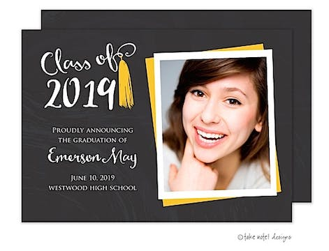 Emerson May Tassel Gold Photo Card