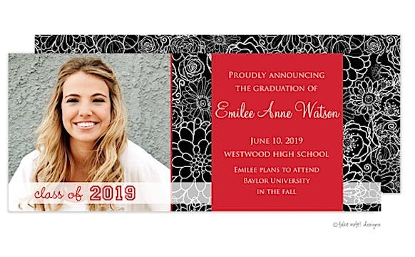 Modern Floral Red Accent Graduation Announcement