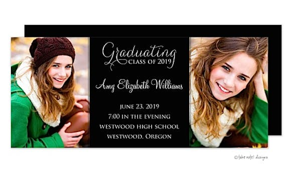 Solid Black Center Graduating Class Graduation Announcement