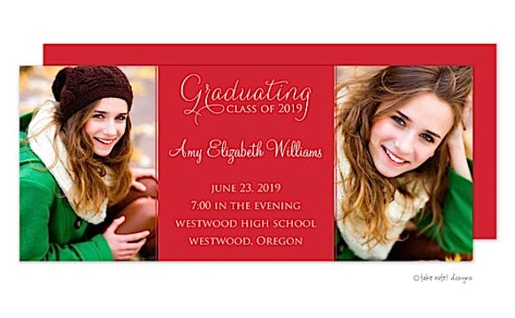 Solid Red Center Graduating Class Graduation Announcement