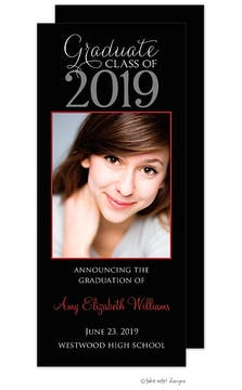 Simple Vertical Red Accent Color Custom Graduation Announcement