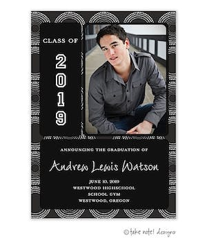 Charcoal Retro Circles Graduation Photo Magnet