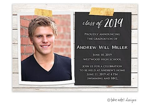Rustic Wood And Chalkboard Tape Graduation Photo Magnet