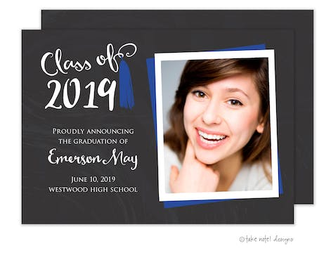 Emerson May Tassel Blue Photo Card