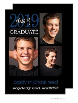 Brady Michael Simple Graduate Blue Photo Card