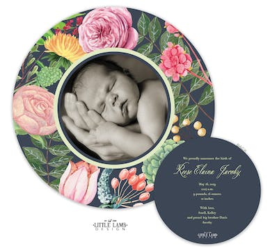 In Full Bloom Round Baby Announcement