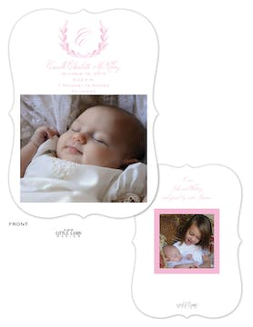 Delicate Pink Wreath Baby Announcement