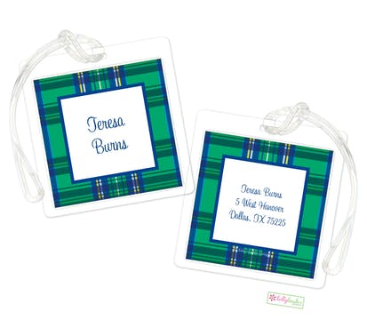 Green Plaid ID Tag