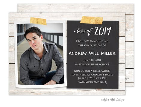 Andrew Will Chalkboard Rustic Photo Card