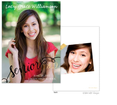 Lucy Grace Senior Script Photo Card