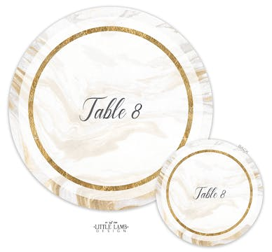 Marbled Elegance Table Card-Round
