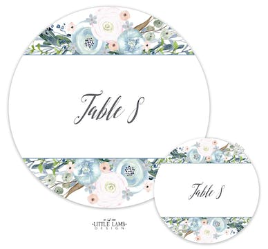 Watercolor Florals Table Card-Round