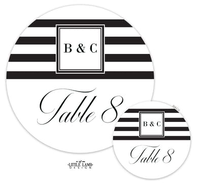 Black & White Stripes Table Card-Round