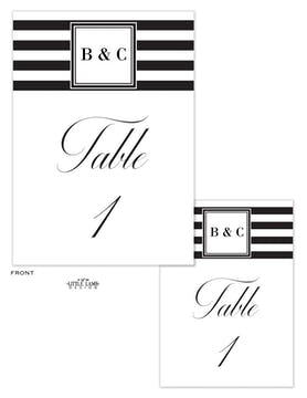 Black & White Stripes Table Card-Flat