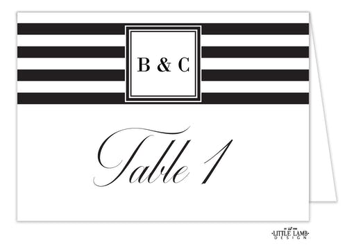 Black & White Stripes Table Card-Folded