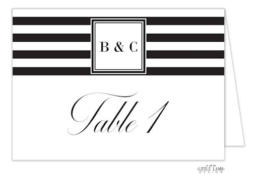 Black & White Stripes Table Card-Folded