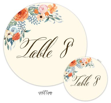 Fresh Floral Table Card-Round