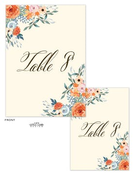 Fresh Floral Table Card-Flat