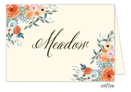 Fresh Floral Table Card-Folded