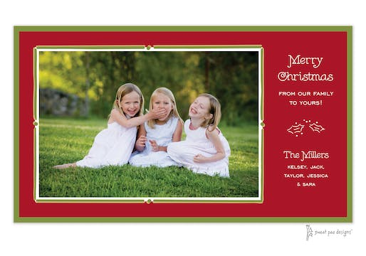 Vintage Frame Red & Green Christmas Flat Photo Card