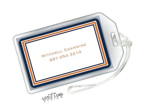 Navy & Dark Orange Border Luggage Tag