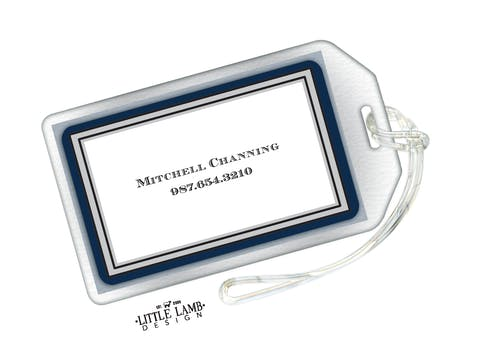 Navy & Silver Border Luggage Tag
