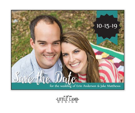 Ribbon Banner Photo Save The Date Magnet