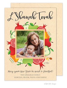 Bountiful Blessing Square Holiday Photo Card