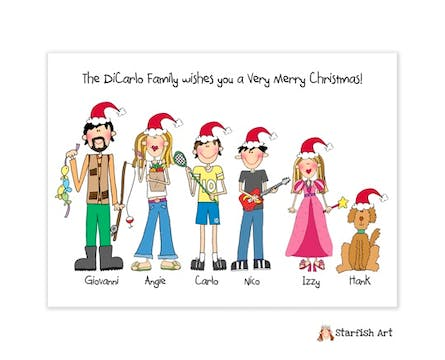 Personalized Character Holiday Folded Family Card