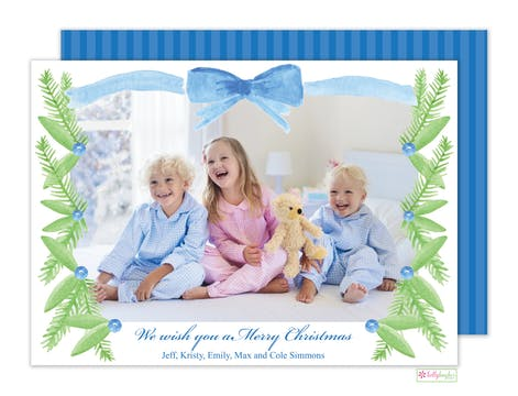 Tie a Blue Ribbon Digital Photo Card
