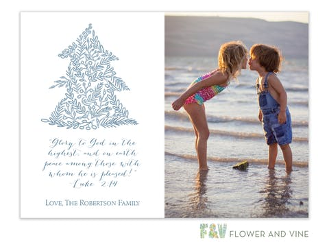 Delicate Christmas Tree (Blue) Digital Photo Card