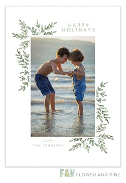 Holiday Greenery Frame Digital Photo Card